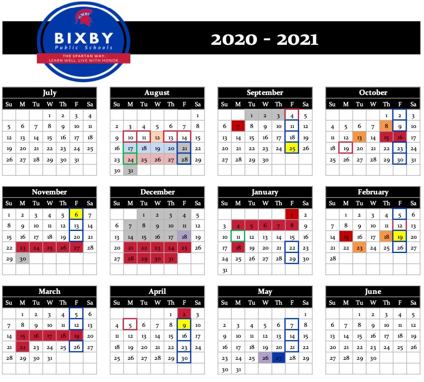 Bps Calendar 2022.District Calendars Bixby Public Schools