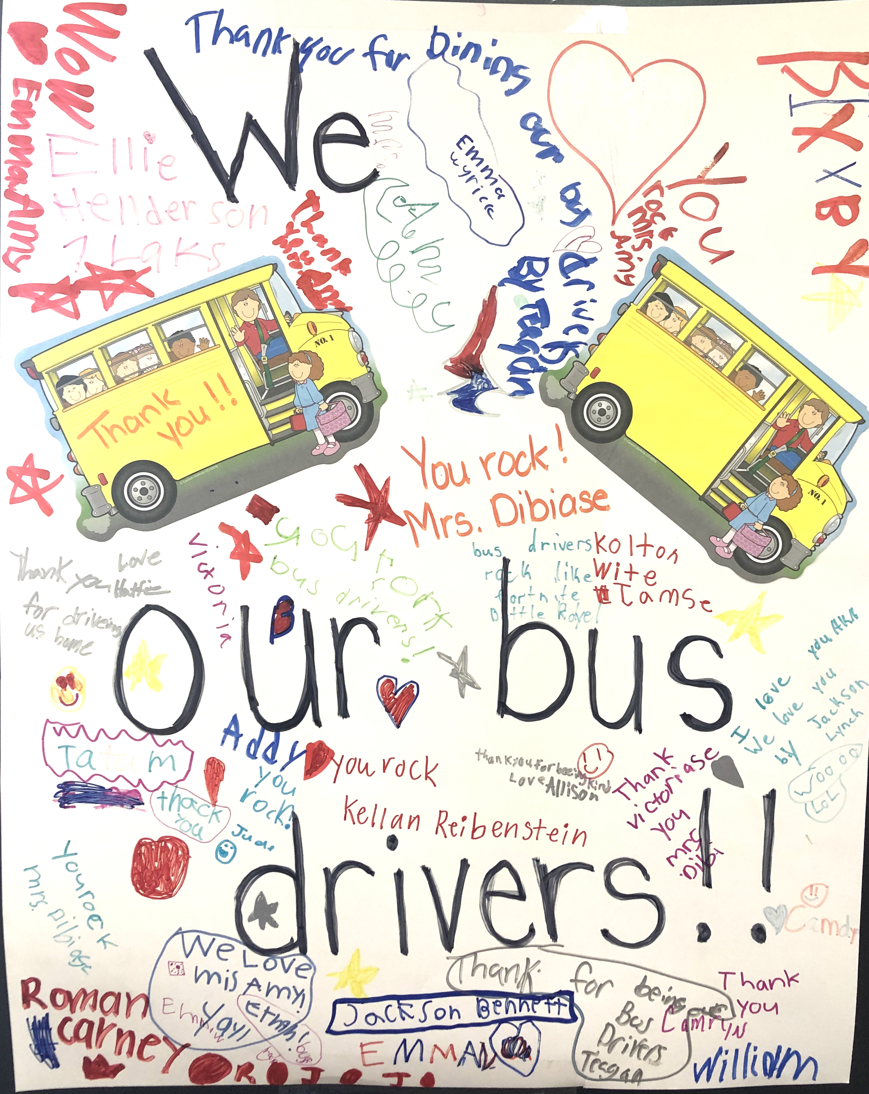 A photo of a transportation collage the students create.