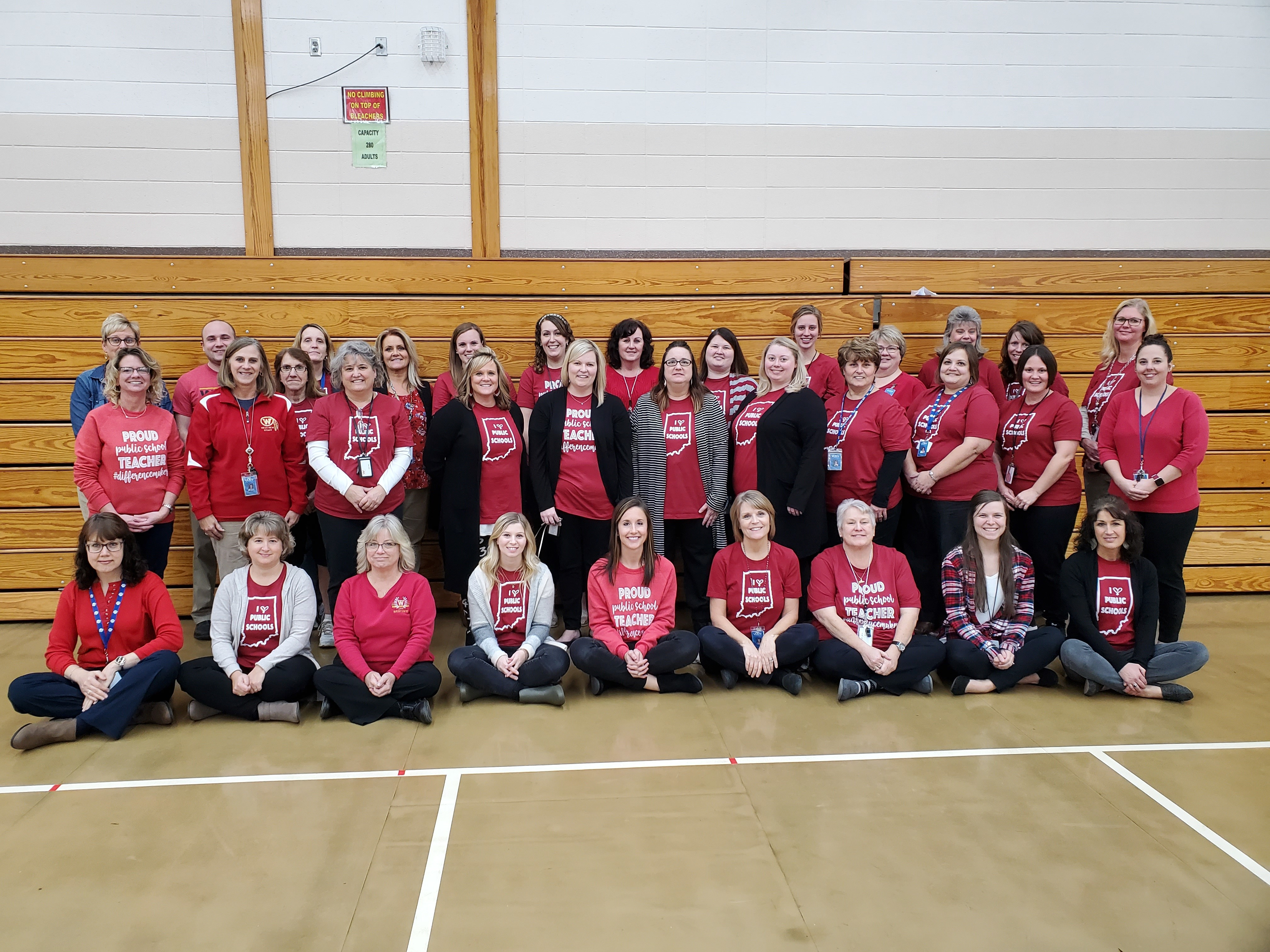 Staff dressed in red to show support for Public Education