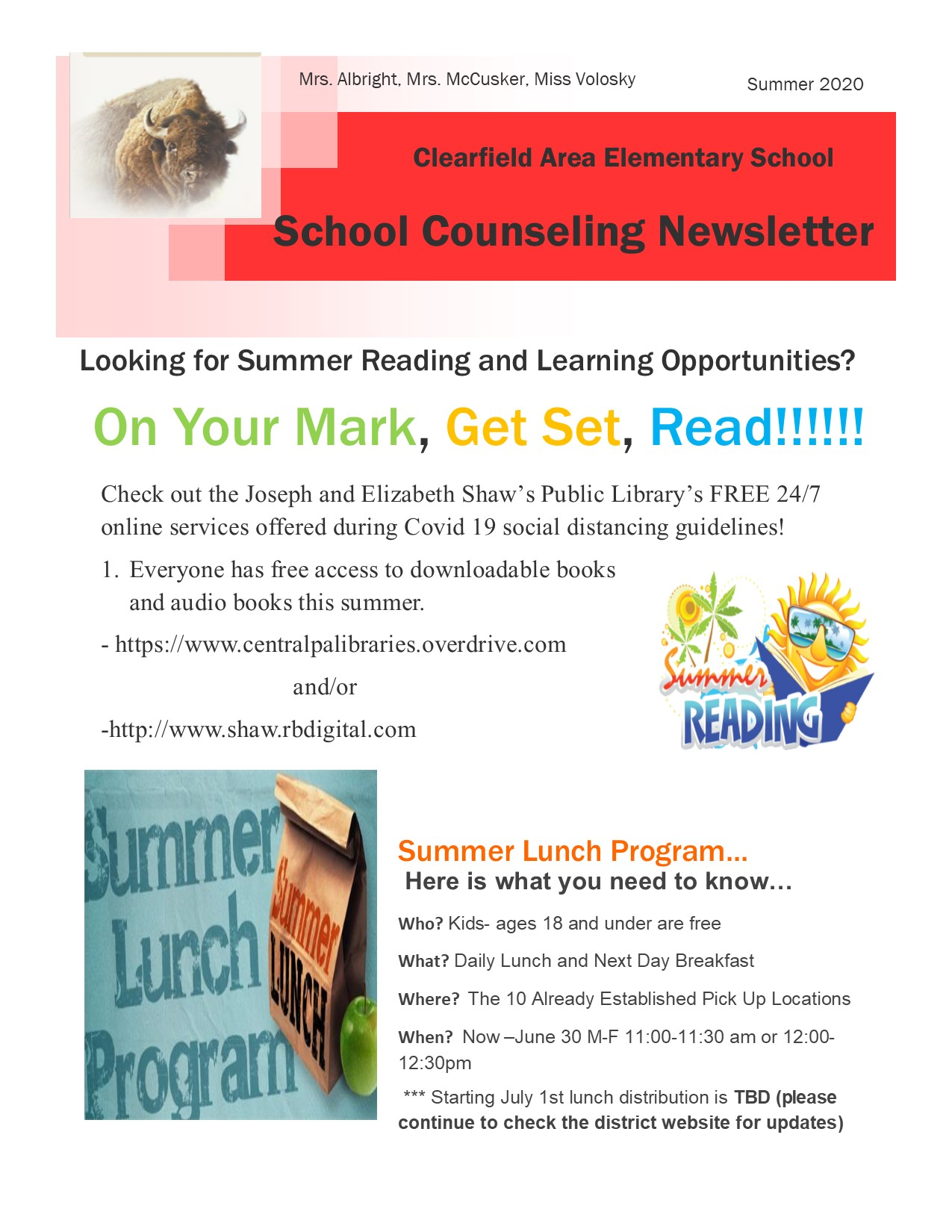 photo of the school counseling newsletter