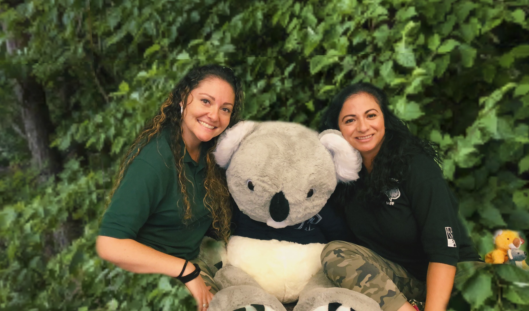 Office ladies Jennifer and Nancy hanging out with our giant koala.