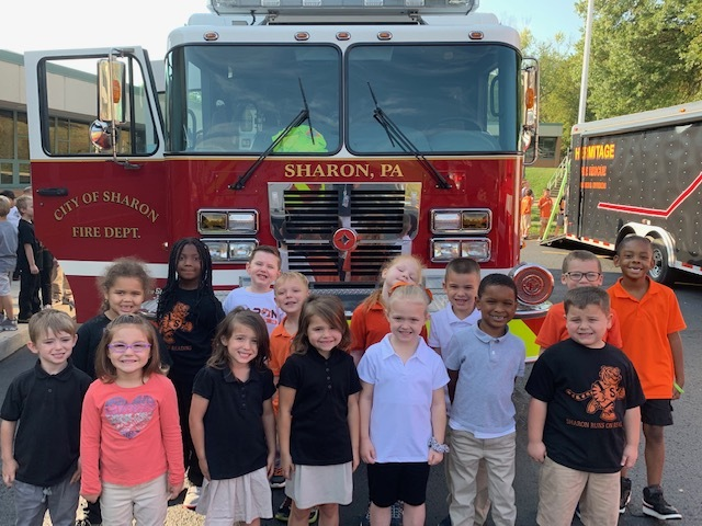 Mrs. Iacino's Kindergarten learning Fire Safety from our Sharon Fire Department