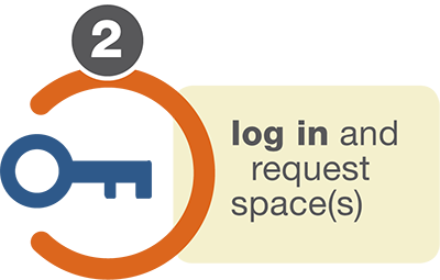 log in and request space