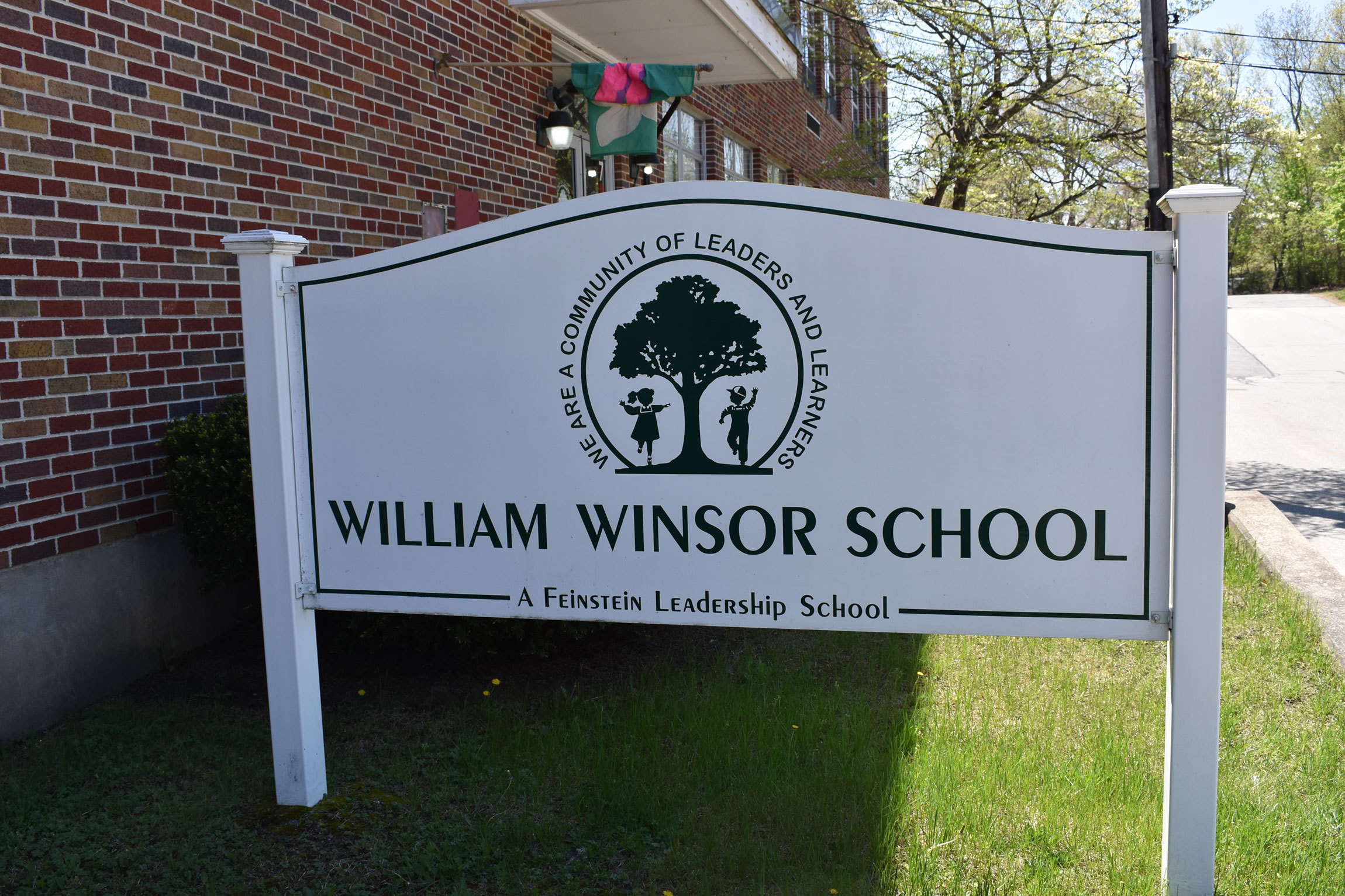 Sign in front of Winsor elementary school