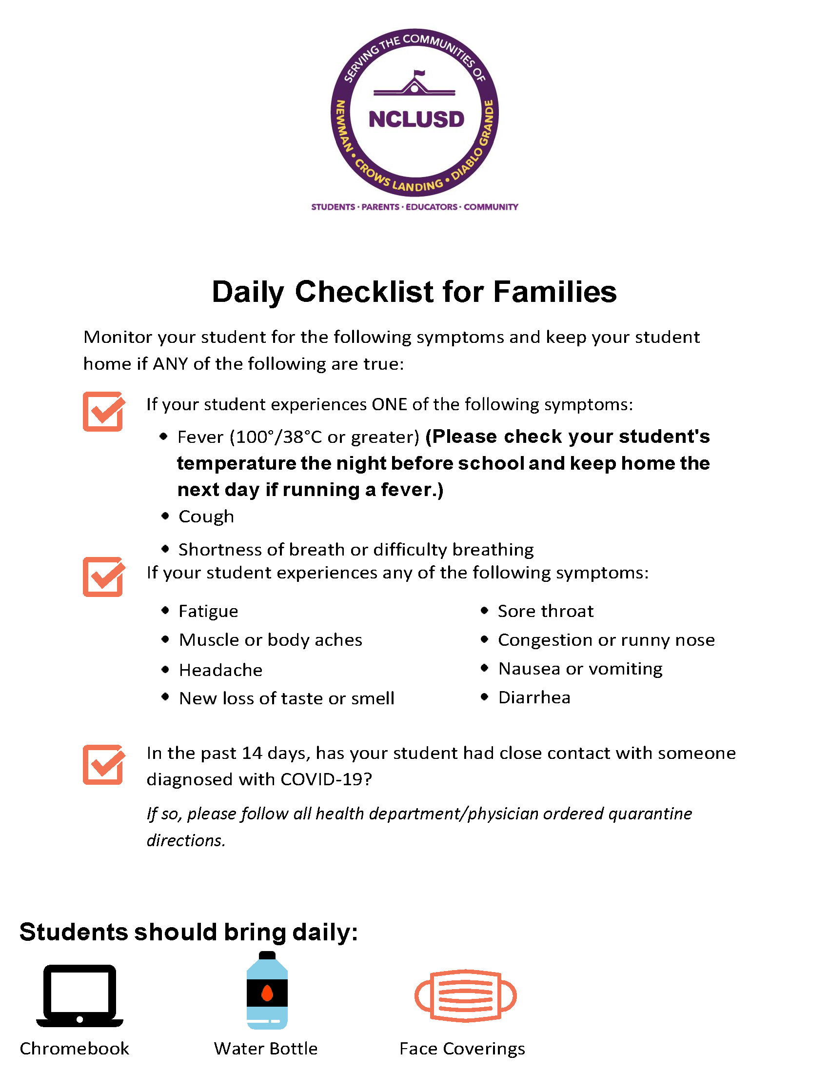 Daily Checklist for Families