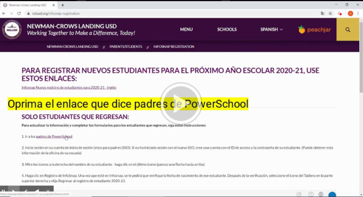 Returning Student Spanish