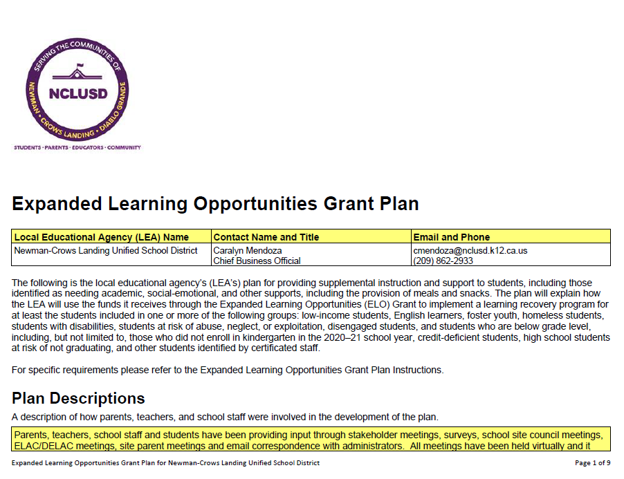 Link to ELO Grant Plan PDF
