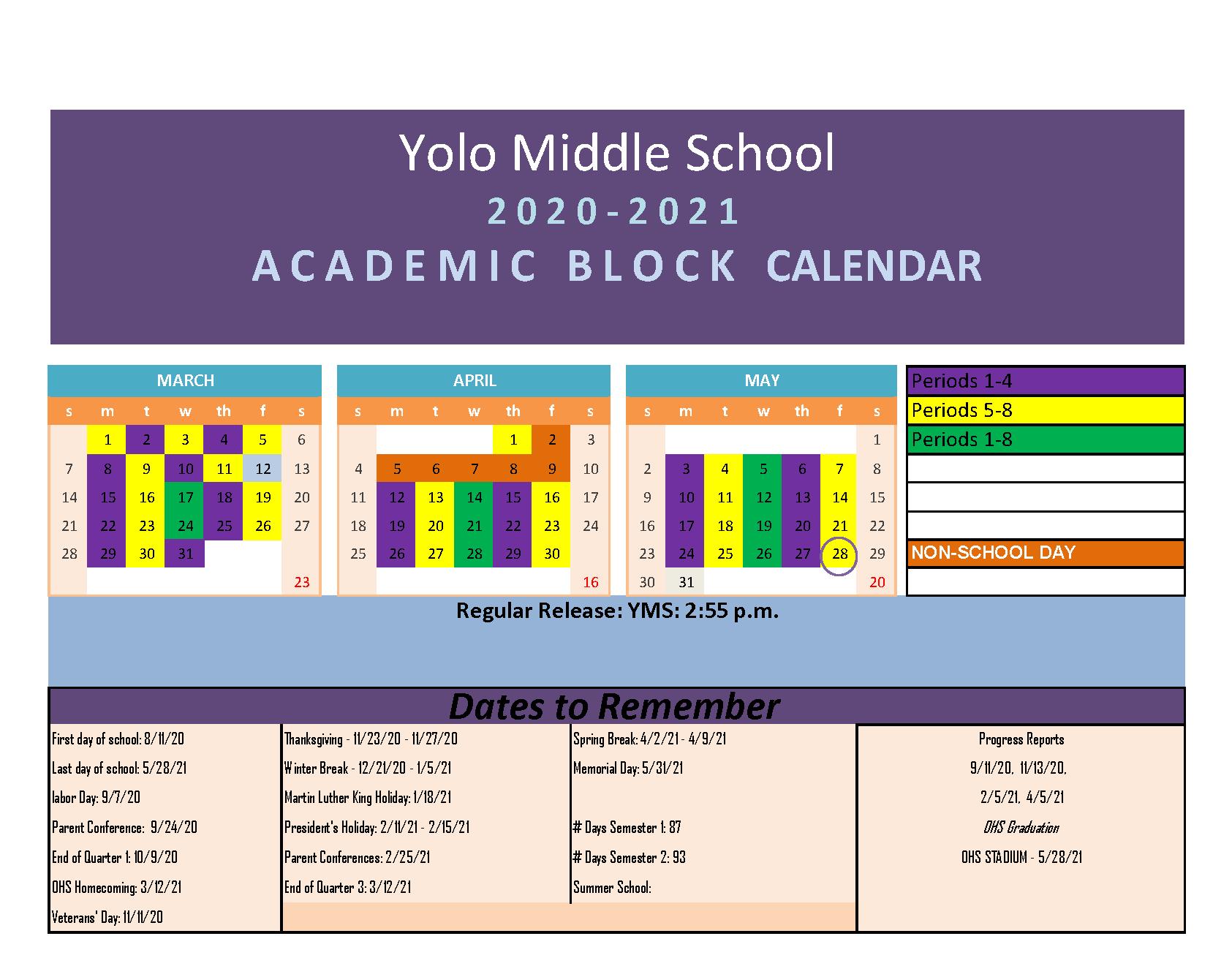Blended Learning Block Calendar-March 2021