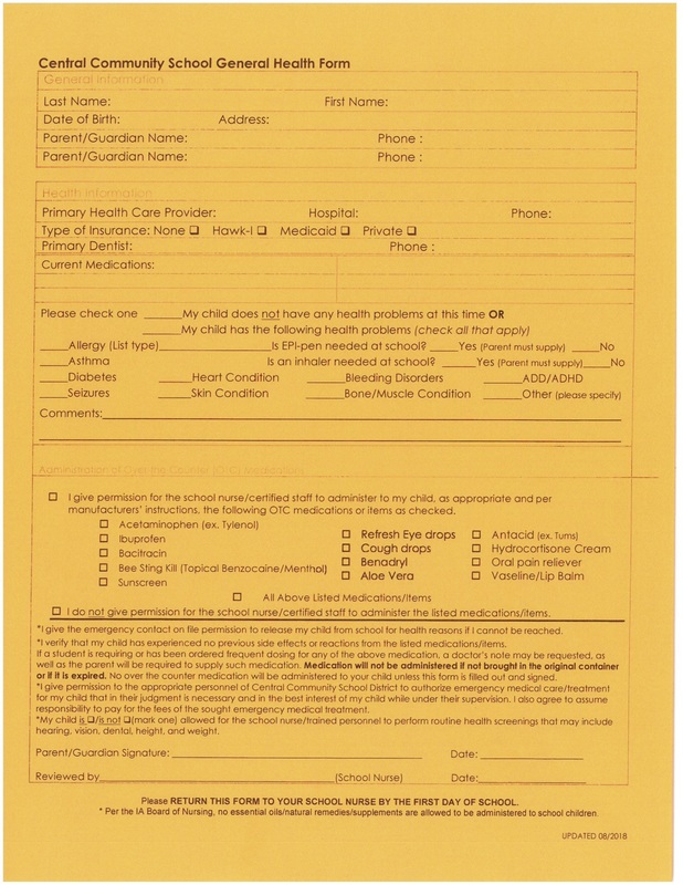 General Health Form