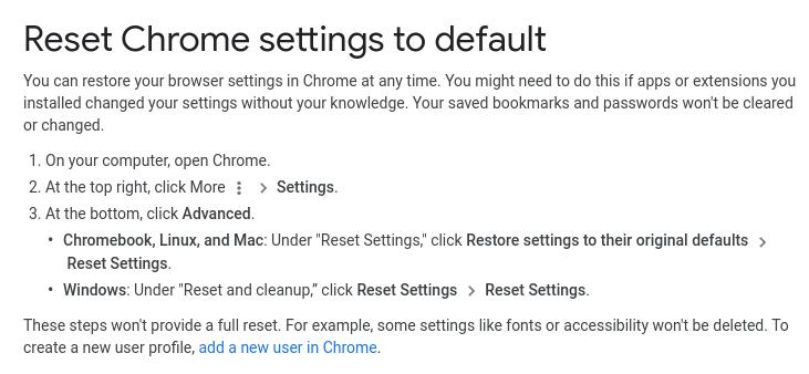 reset google settings