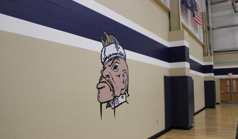 A photo of the gym wall