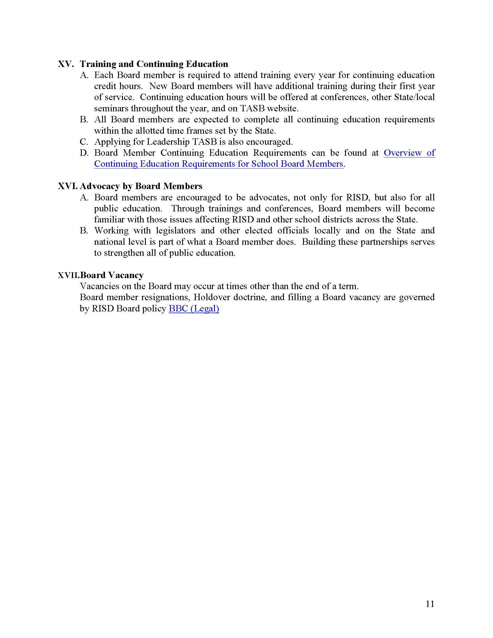 RISD Board Operating Procedures Page 11