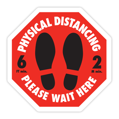 PHYSICAL DISTANCING - PLEASE WAITH HERE
