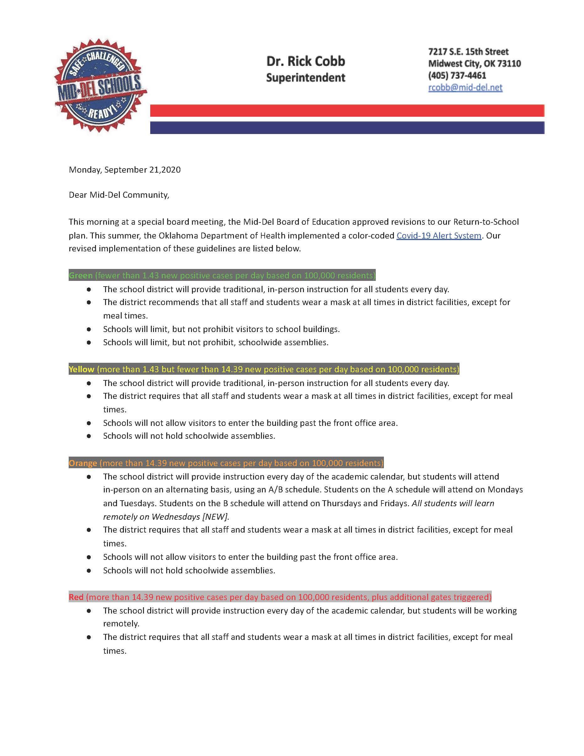 Dr. Cobb's letter 9-21-2020 Update