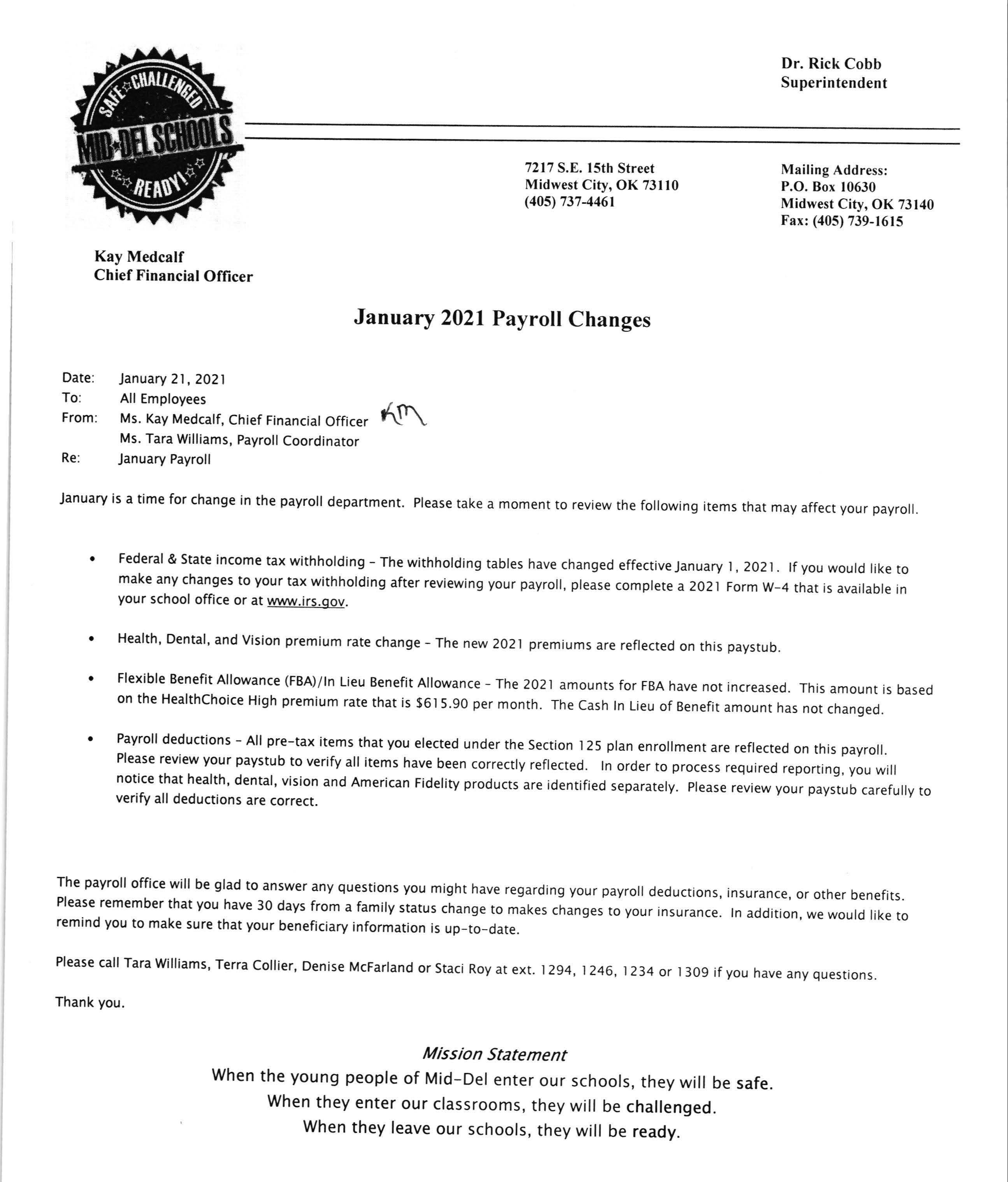 Jan 2021 Payroll changes