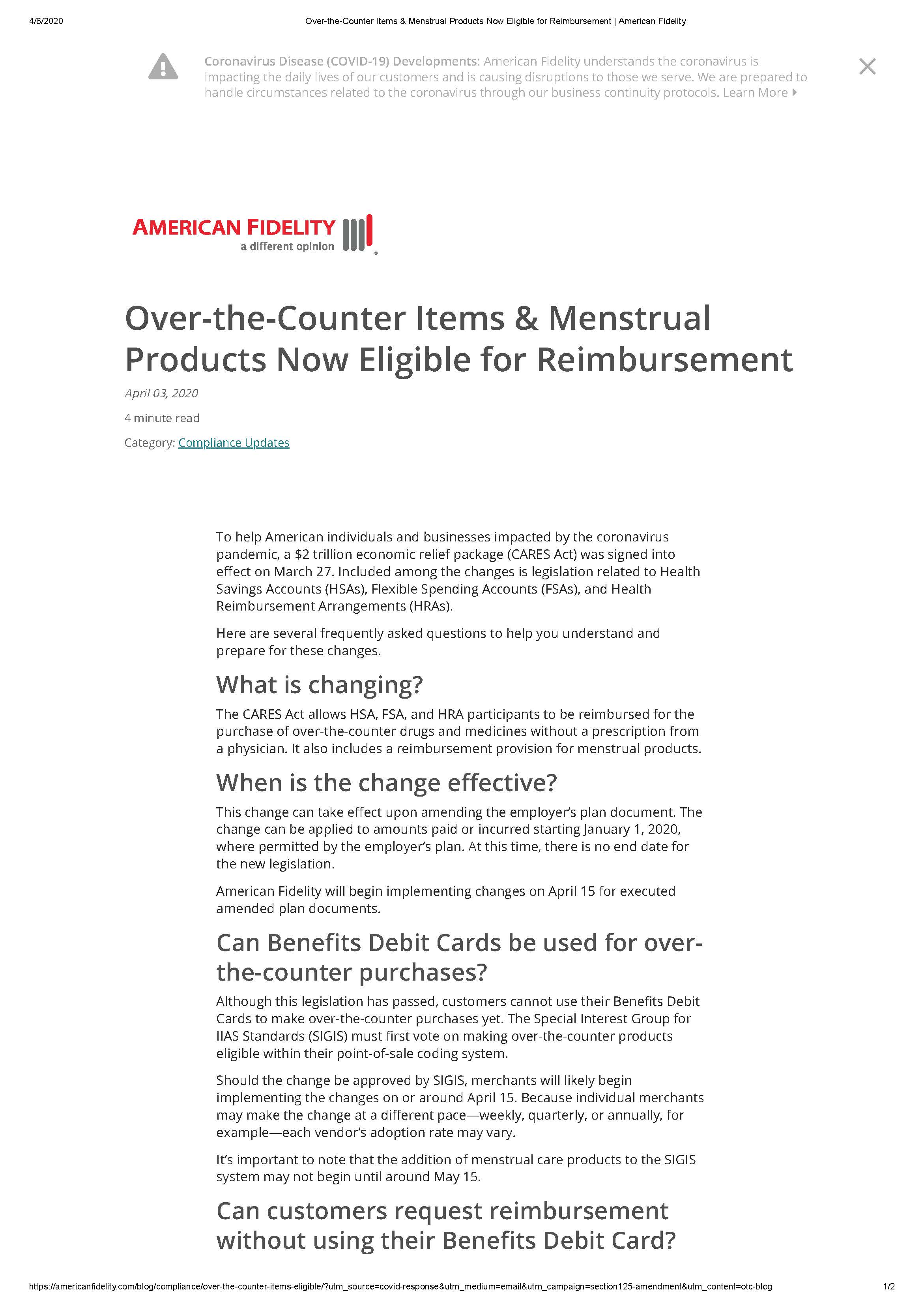 Over-the-Counter Items & Menstrual Products Eligible for Reimbursment Page 1