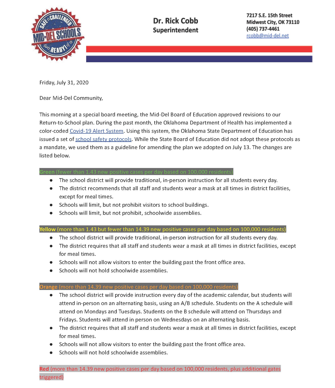 Dr. Cobb's Letter