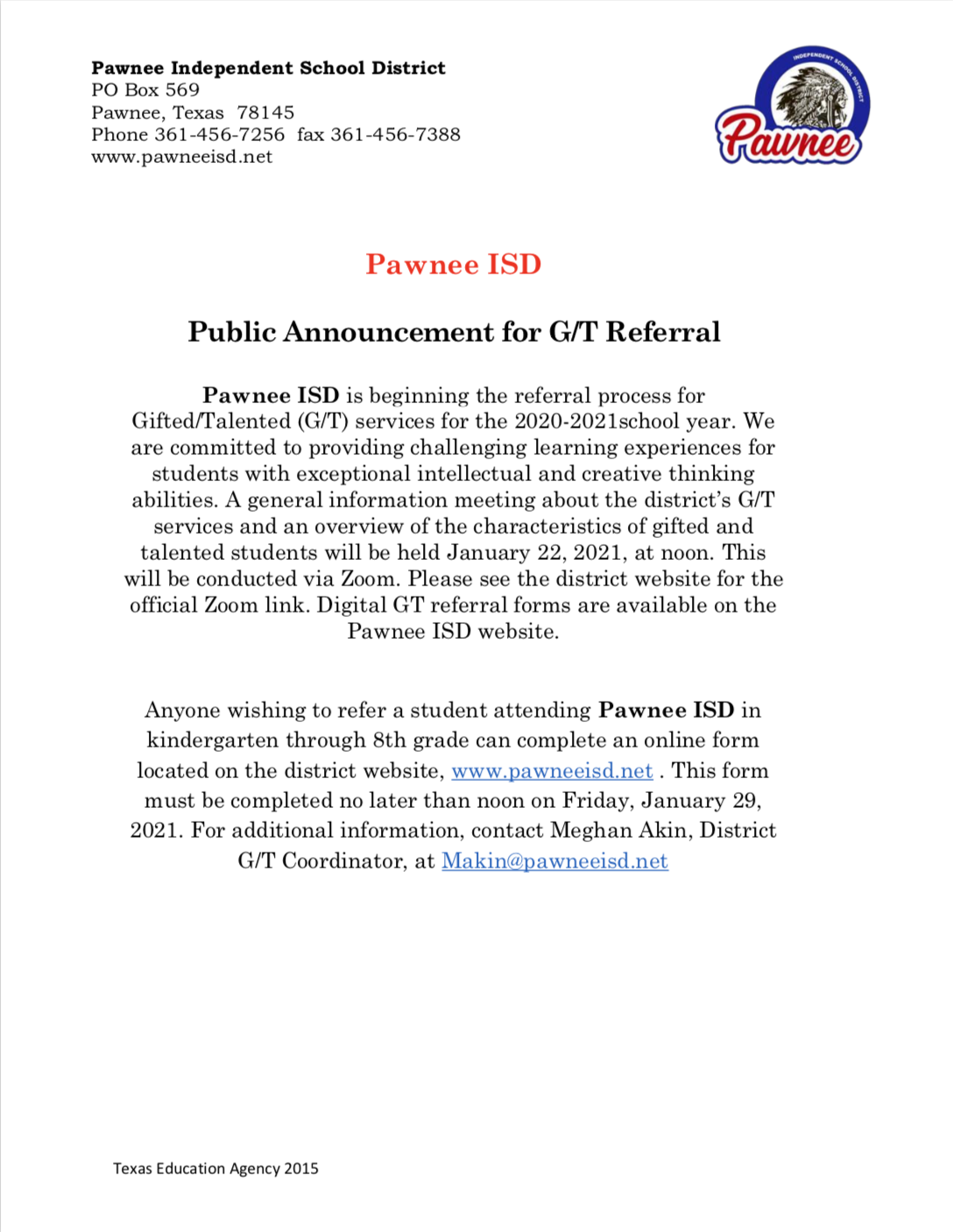 Public Announcement GT Referral