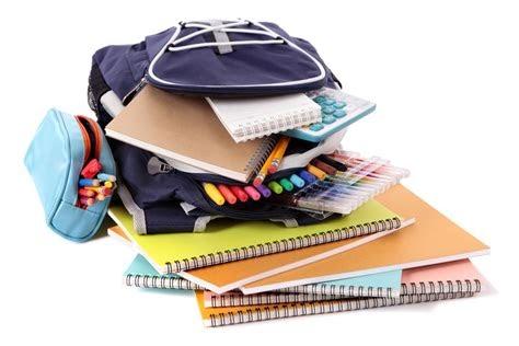 stack of school supplies