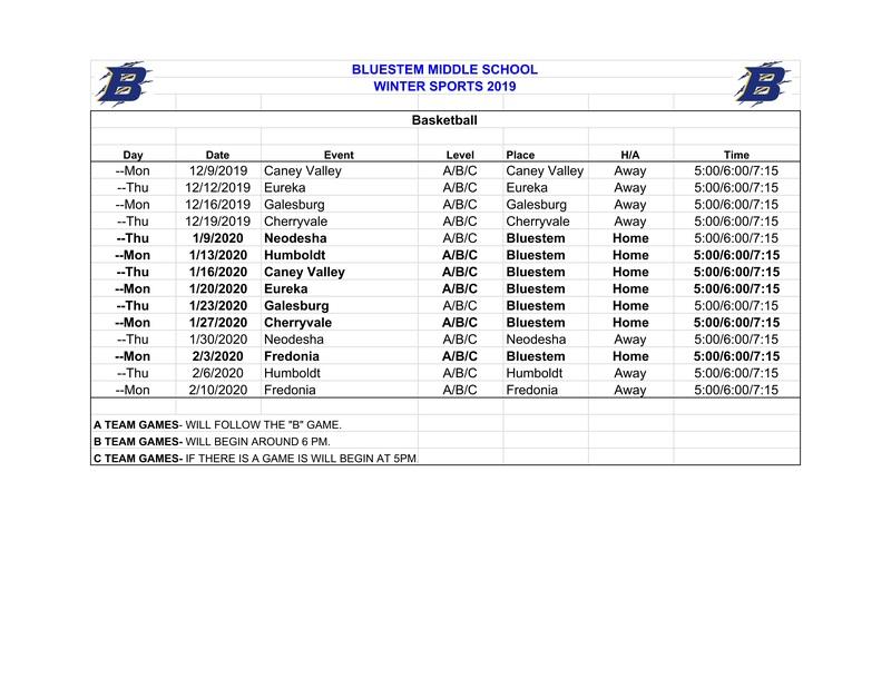 Middle School Winter 2019 Boys Basketball Schedule