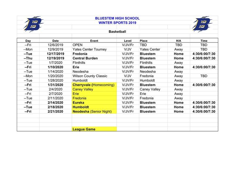 High School Winter 2019 Boys Basketball Schedule
