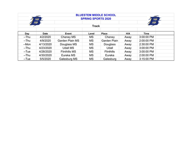 MIDDLE SCHOOL SPRING 2019 TRACK SCHEDULE