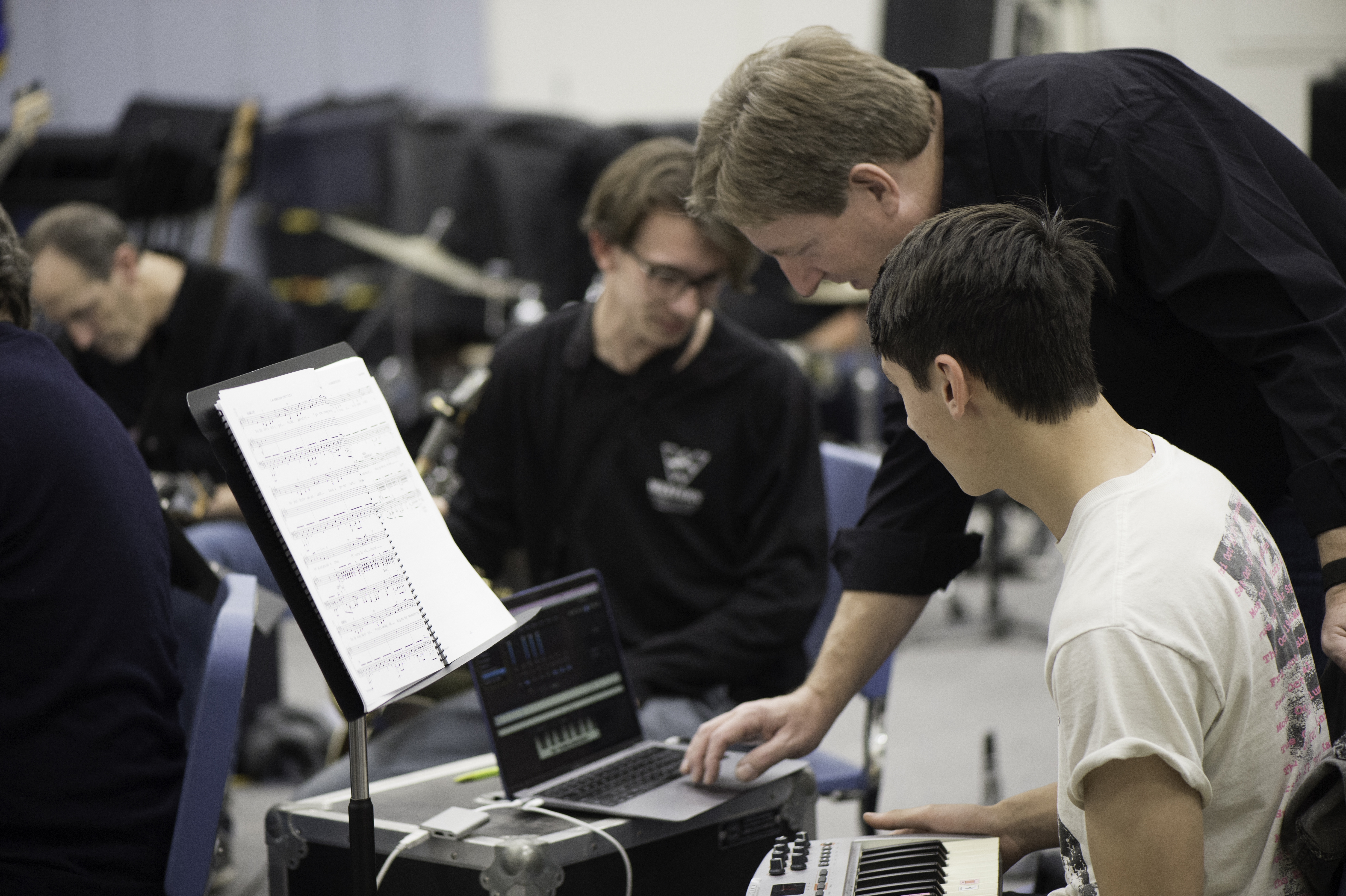 Photo of the band practicing for the play