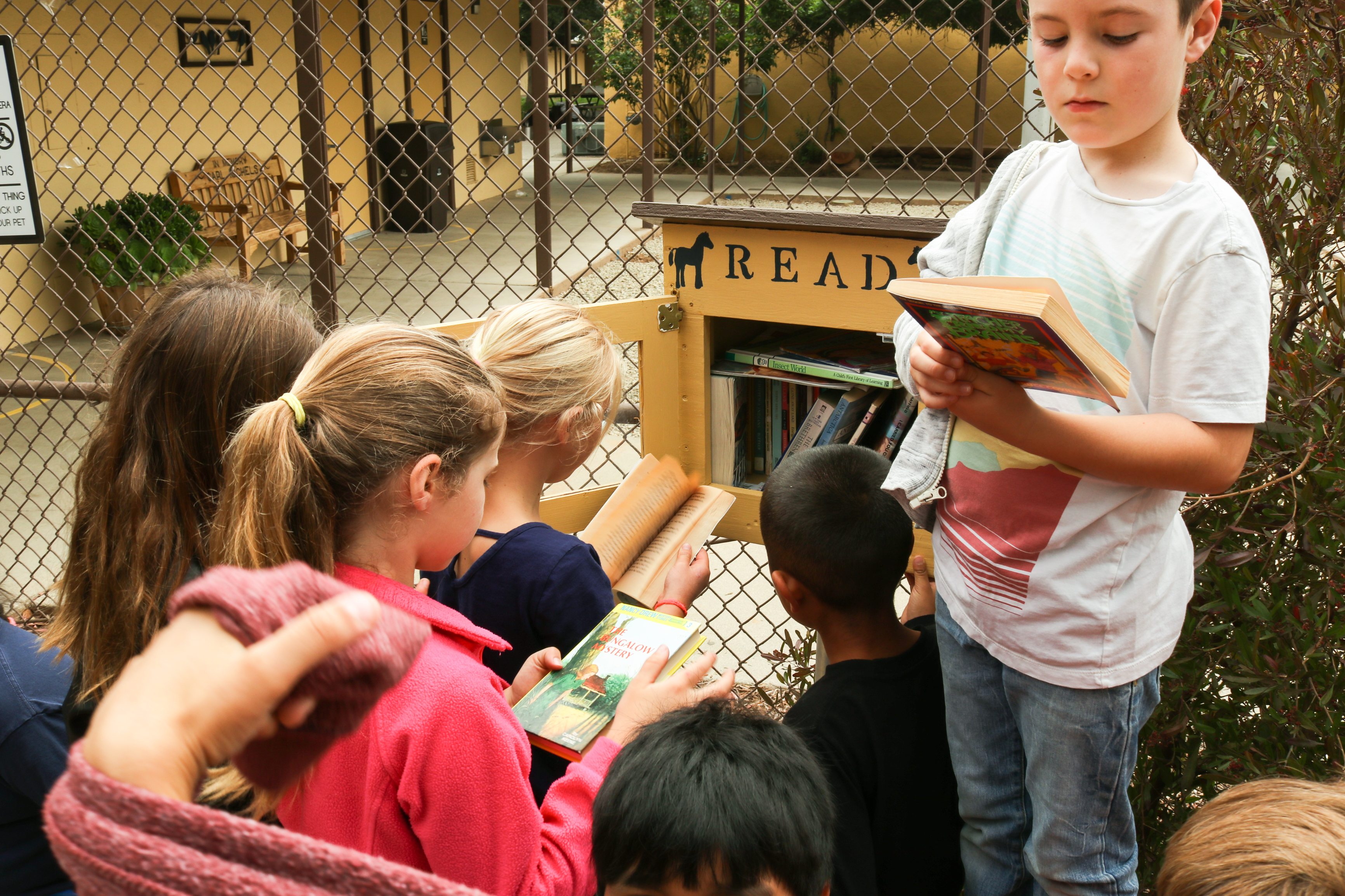 A group of kids all taking a couple of books from a Reading box installed on the school's grouds.