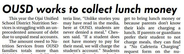 OUSD works to collect lunch money