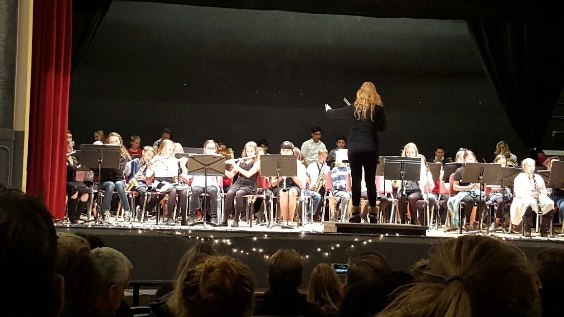 The band playing the school's theatre.