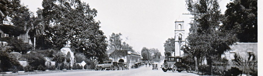 A black and white photo of the district