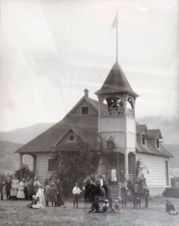 A black and white photo of the school's building