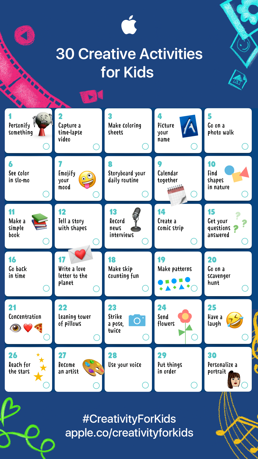Creative activities 1-10 for kids to make with iPads