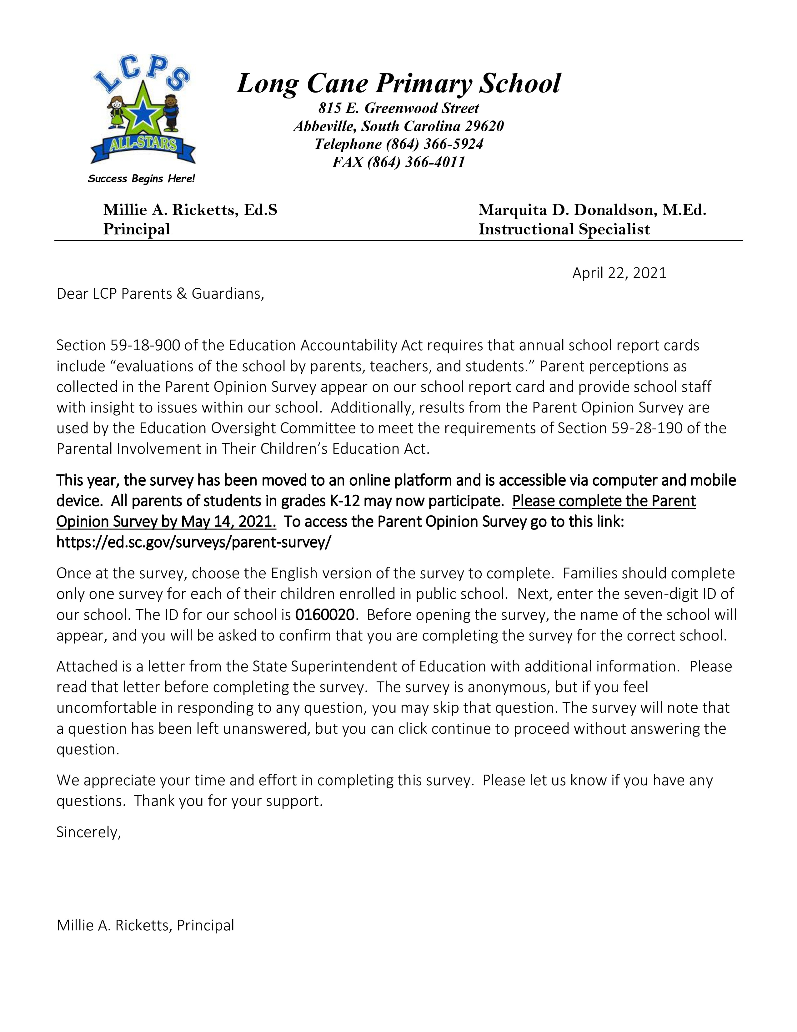lcps parent letter - scde survey