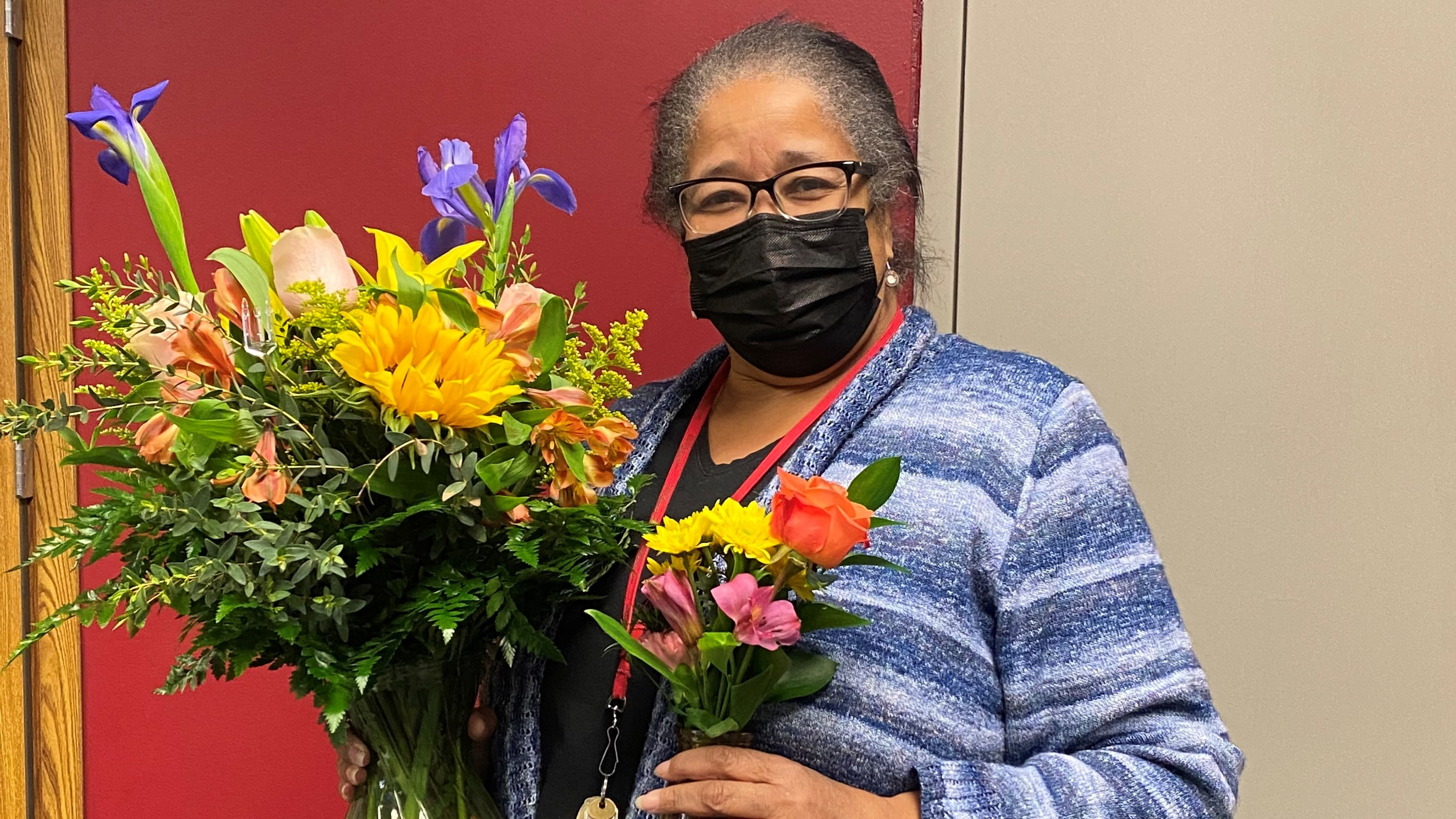 teacher with flowers
