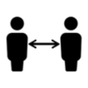 image of two people with arrow between to indicate social distance