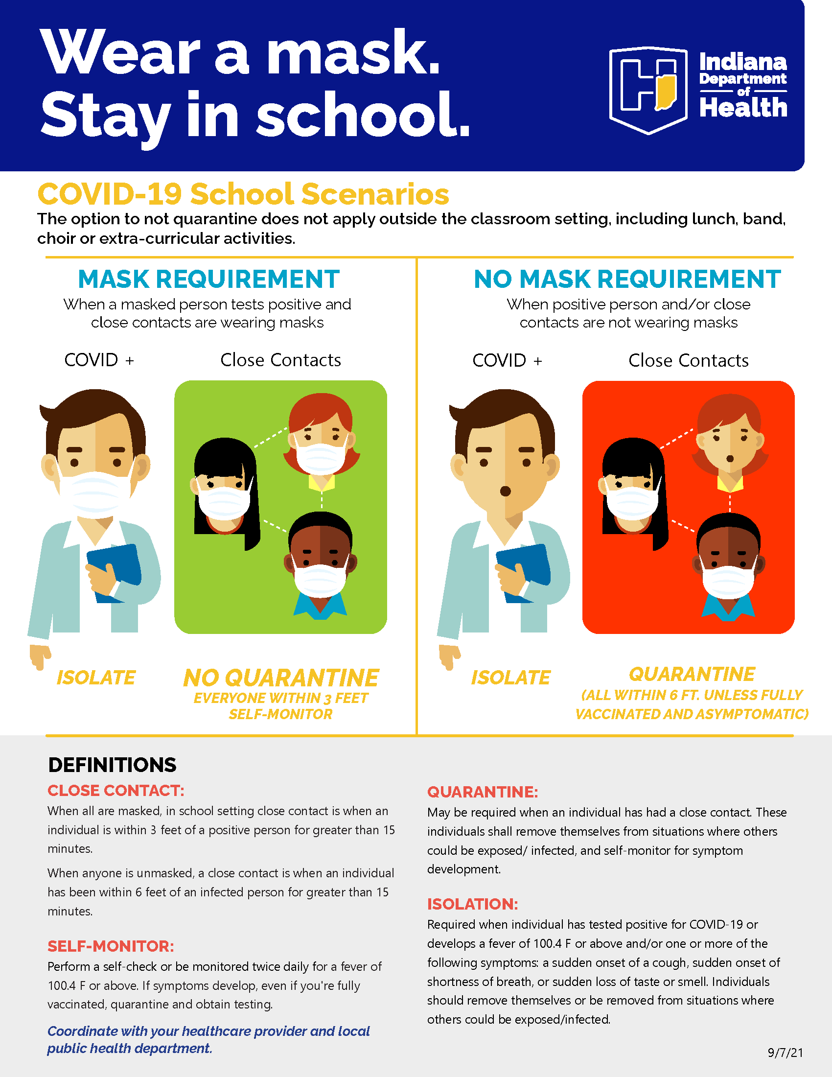 Indiana State Department of Health Wear a Mask Stay in School Flyer