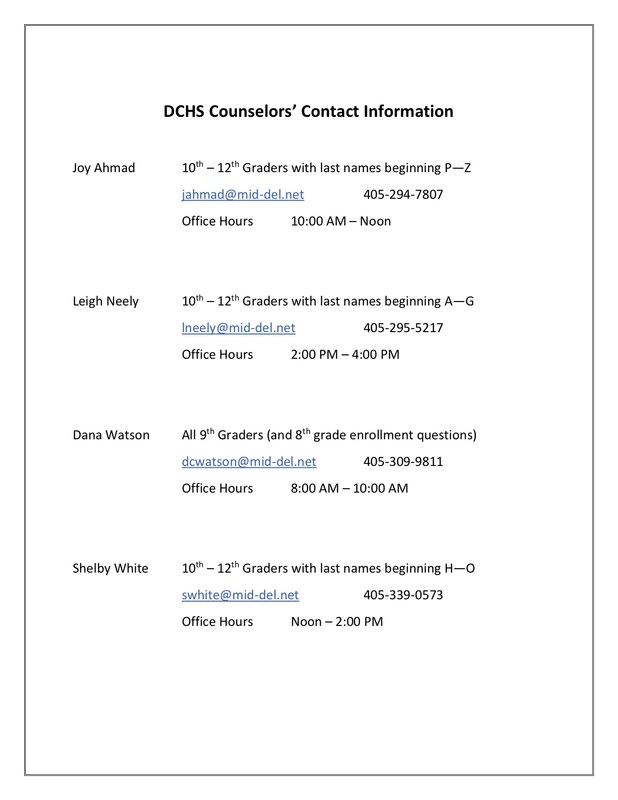 DCHS Counselor's Contact Information