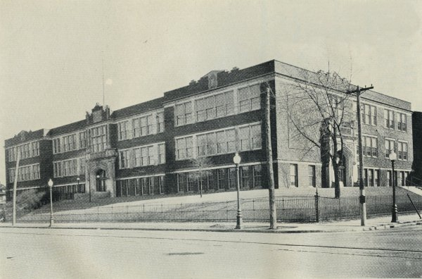 Black and white photo of the school's building.