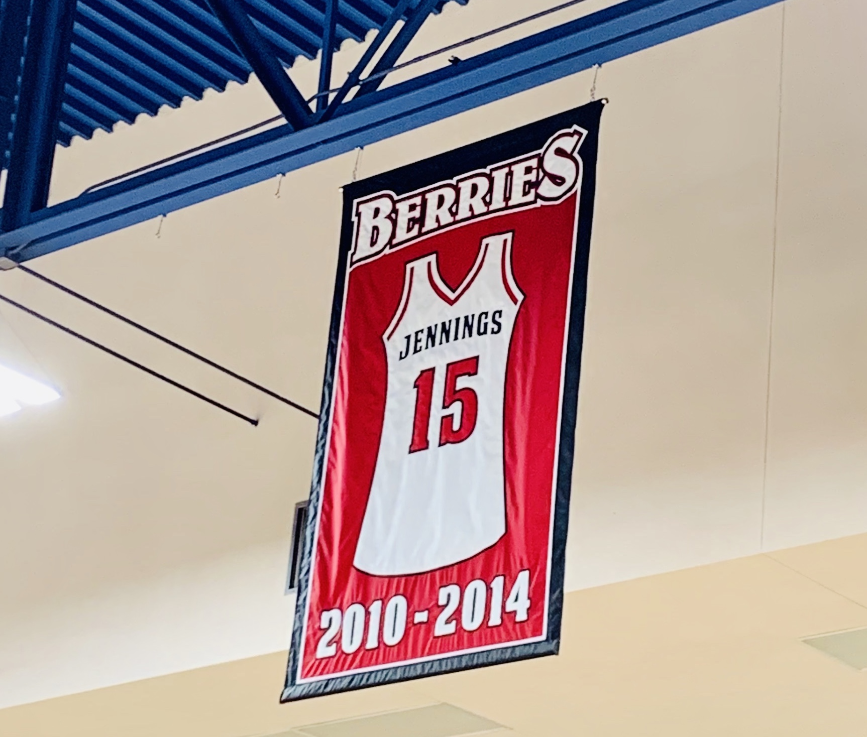 Jennings Basketball Number displayed over the gym