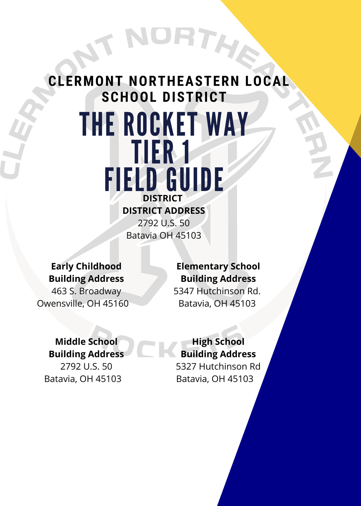 STAFF FIELD GUIDE - TIER 1 - ACADEMIC SCHOOL YEAR 2020-2021