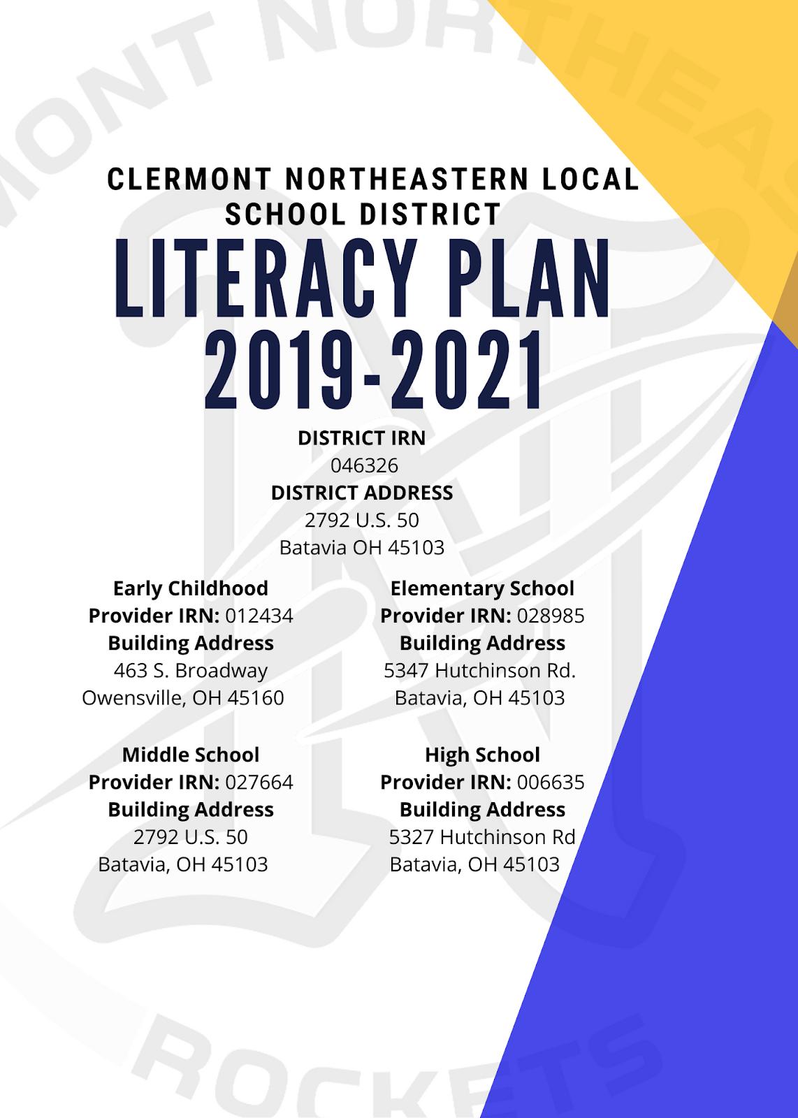 LITERACY PLAN 2019 - 2021