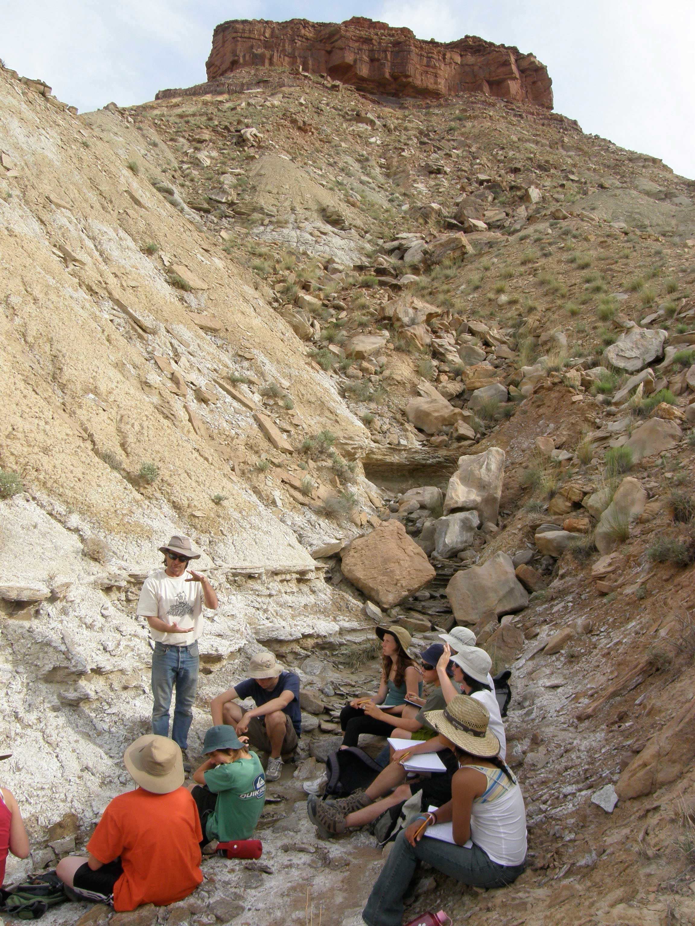 photos of Students investigating geologic strata of the Mesozoic Era. San Rafael Swell, Utah