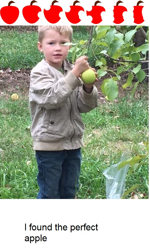 student picking apple