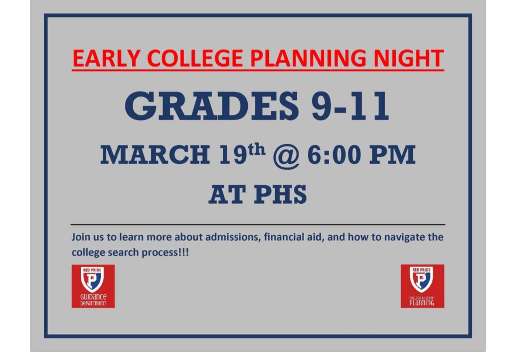 early college planning night flyer