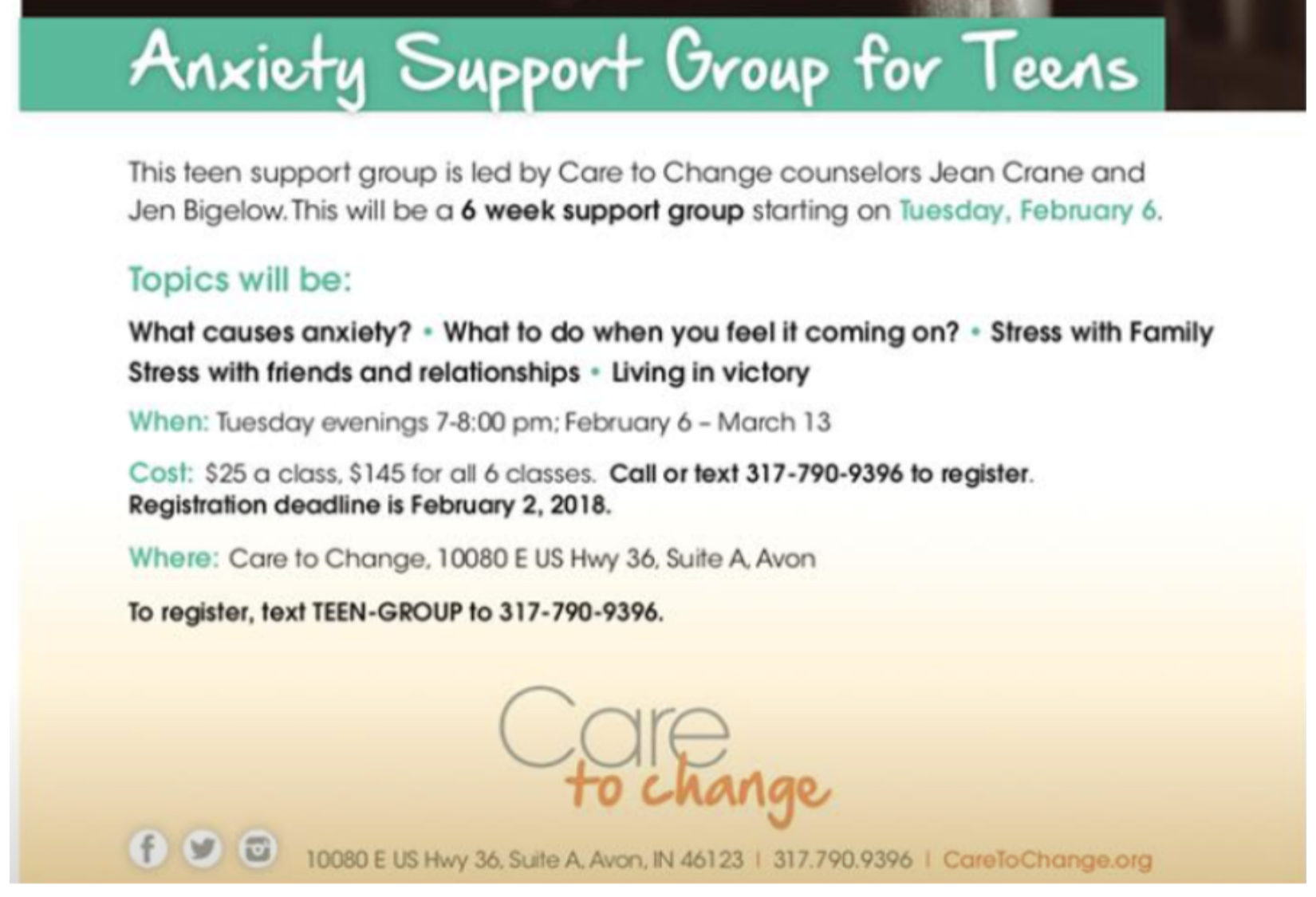 anxiety support group for teens