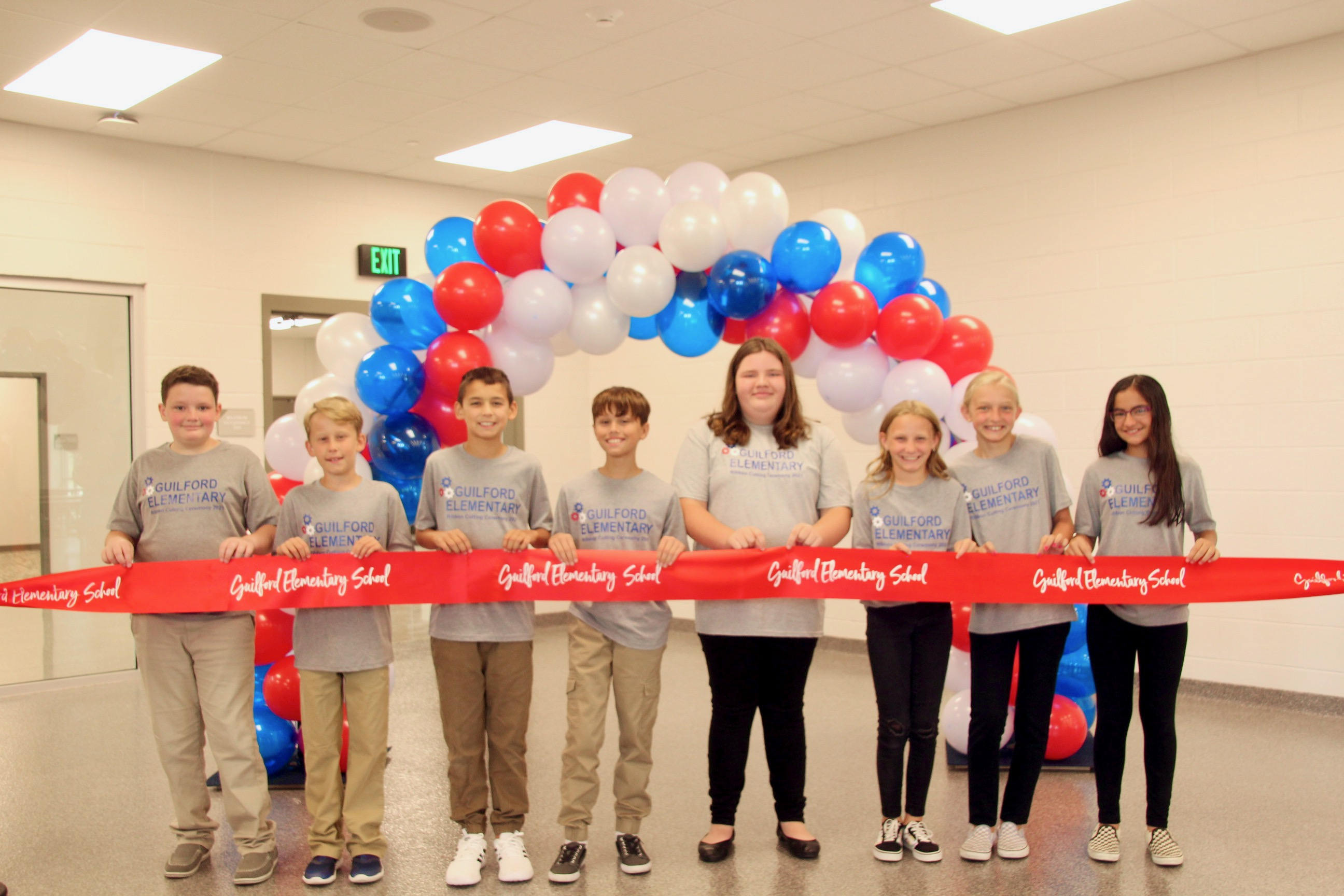 5th grade Ambassadors ready to greet guests and provide tours during the Guilford Elementary School ribbon-cutting event