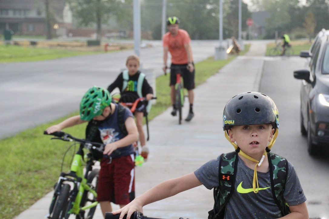 Guilford students (and their parents) loved participating in National Ride-a-Bike-to-School Day