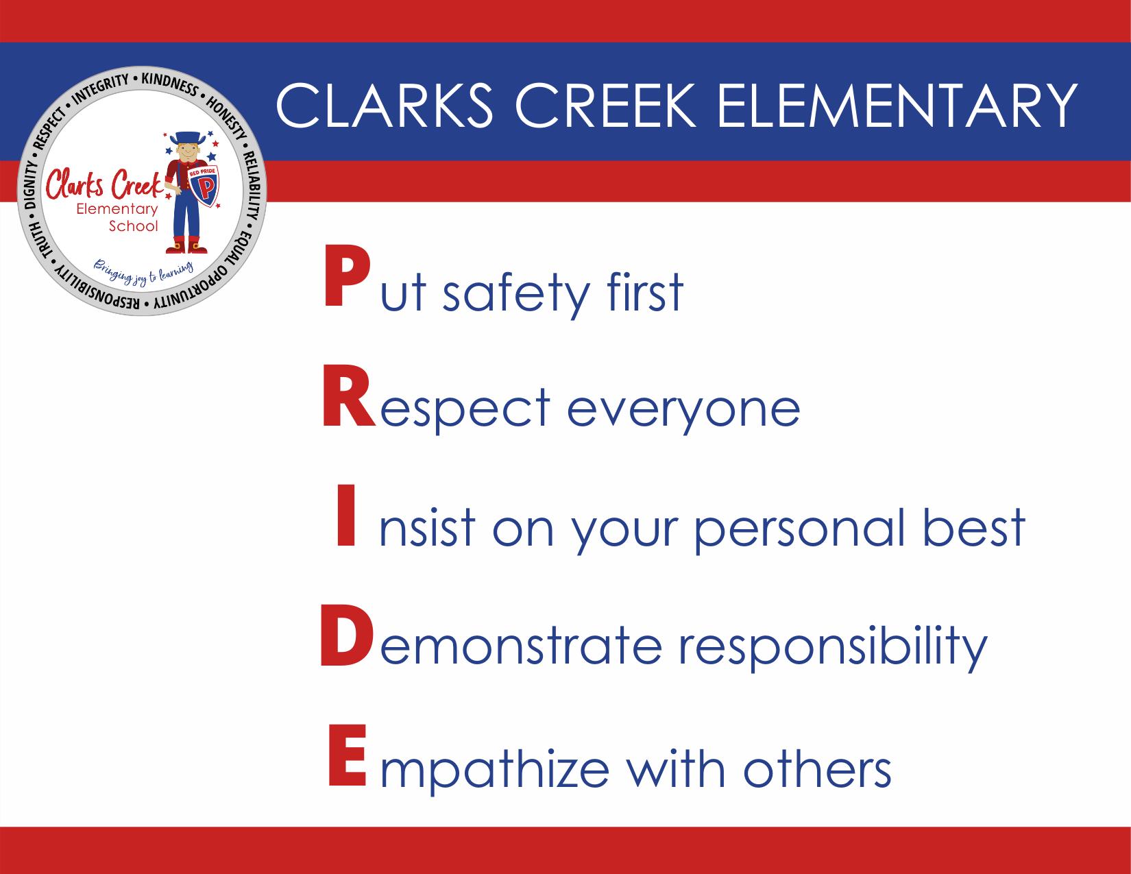 Clarks Creek PRIDE pledge