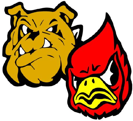 Dayton bulldog and Waitsburg cardinal logos